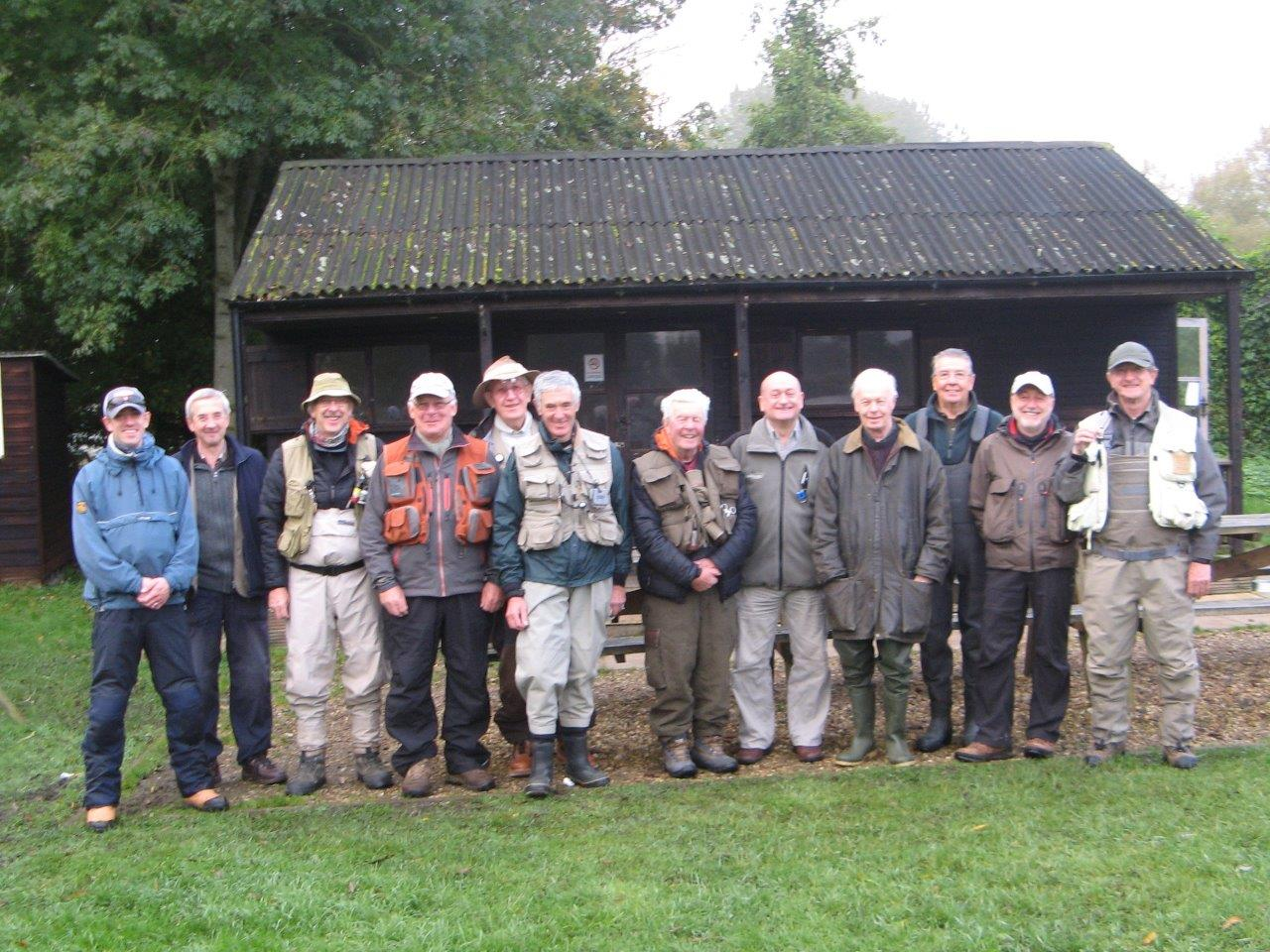 The Chiltern anglers at the Wherwell Fishing Lodge.